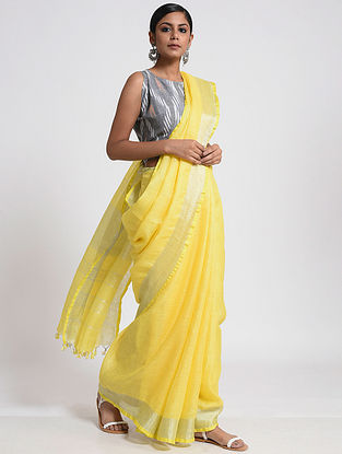 Yellow Linen Saree with Zari and Tassels