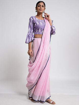 Pink-Blue Linen Saree with Zari and Tassels