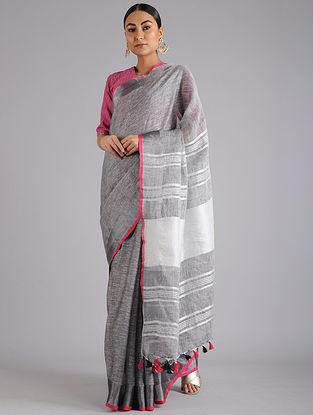 Grey-White Linen Cotton Saree