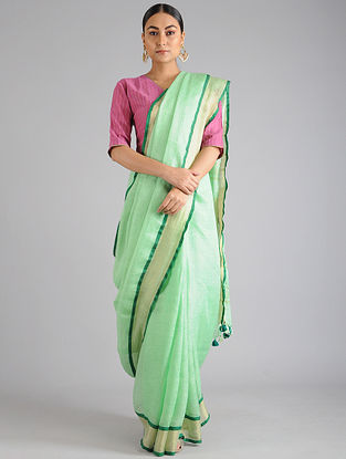 Green Linen Cotton Saree