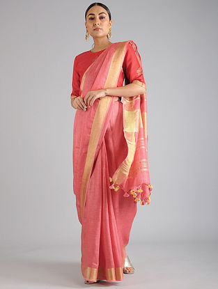 Peach Linen Cotton Saree
