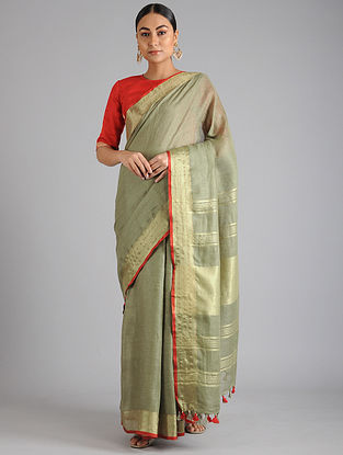 Olive Green Linen Cotton Saree