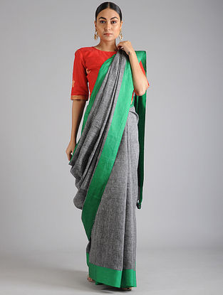 Grey-Green Linen Cotton Saree