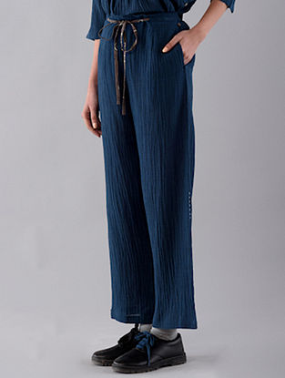 Navy Hand Embroidered Cotton Denim Pants
