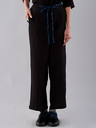 Charcoal Hand Embroidered Cotton Denim Pants