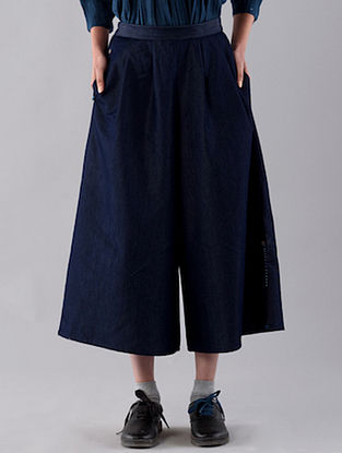 Blue Hand Embroidered Cotton Denim Culottes