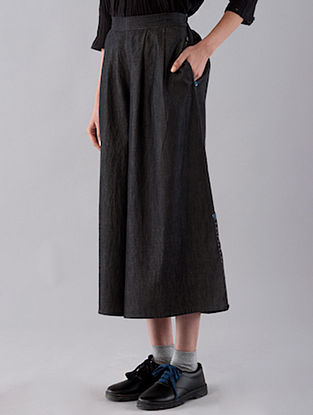 Charcoal Hand Embroidered Cotton Denim Culottes