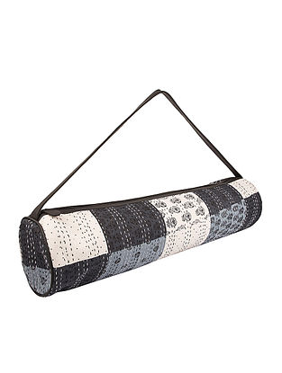 Cream-Blue Kantha Embroidered Block-Printed Cotton Yoga Mat Bag