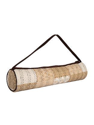 Cream-Beige Kantha Embroidered Block-Printed Cotton Yoga Mat Bag