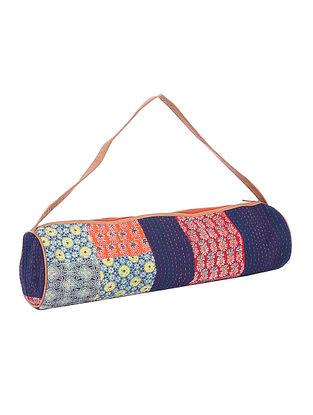 Blue-Multicolored Kantha Embroidered Block-Printed Cotton Yoga Mat Bag
