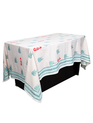 White-Blue Hand Block-printed 6 Seater Cotton Table Cover (90in x 58in)