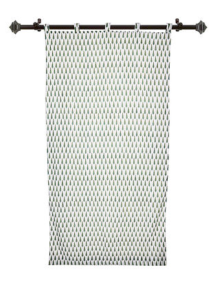 White-Green Hand Block-printed Cotton Curtains (Set of 2) (L:85.04in, W:44.09in)