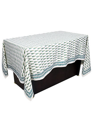 White-Green Hand Block-printed 6 Seater Cotton Table Cover (90in x 58in)