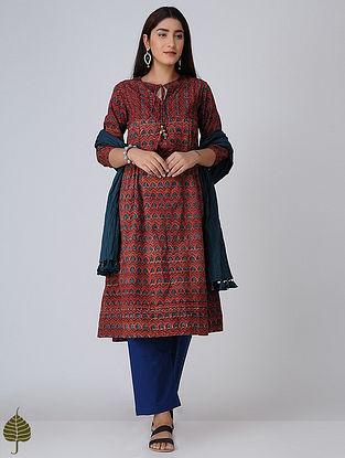 Madder-Indigo Pleated Ajrakh Cotton Kurta by Jaypore
