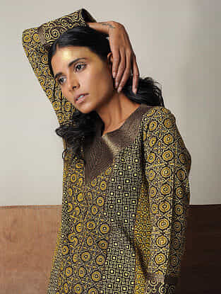 Mustard-Brown Layered Ajrakh Cotton Kurta with Zari Detail by Jaypore
