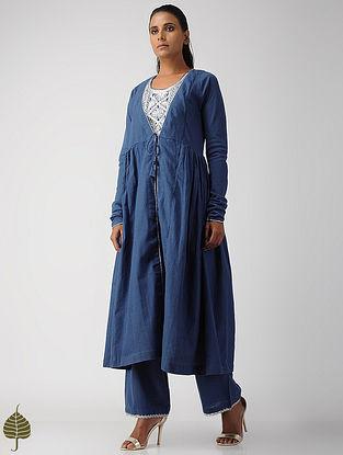 Blue Zari Embroidered Handloom Cotton Kurta