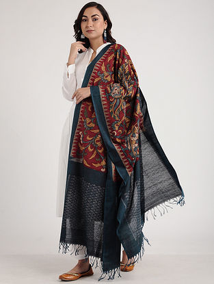Red-Teal Kalamkari Hand-painted Ikat Cotton Dupatta