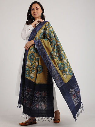 Beige-Blue Kalamkari Hand-painted Ikat Cotton Dupatta