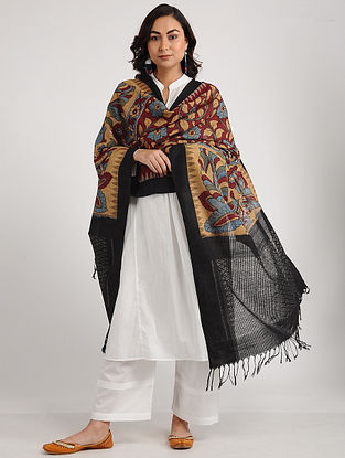 Beige-Black Kalamkari Hand-painted Ikat Cotton Dupatta
