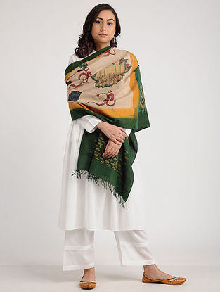 Beige-Green Kalamkari Hand-painted Ikat Cotton Dupatta