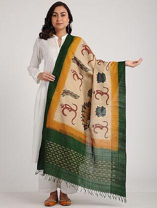 Beige-Green Kalamkari Hand-painted Ikat Cotton Dupatta