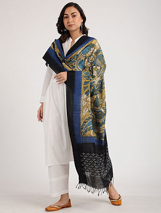 Black-Blue Kalamkari Hand-painted Ikat Cotton Dupatta
