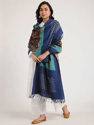 Blue-Red Kalamkari Hand-painted Ikat Cotton Dupatta