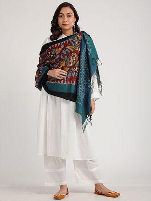 Red-Blue Kalamkari Hand-painted Ikat Cotton Dupatta