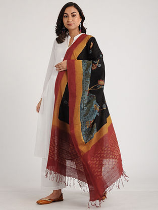 Black-Red Kalamkari Hand-painted Ikat Cotton Dupatta