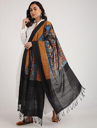 Blue-Black Kalamkari Hand-painted Ikat Cotton Dupatta