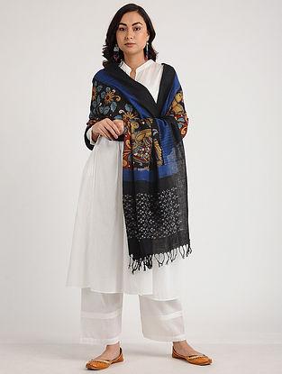 Black-Blue Kalamkari Hand-painted Ikat Cotton Dupatta