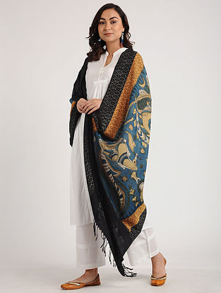 Blue-Black Kalamkari Hand-painted Ikat Cotton Dupatta