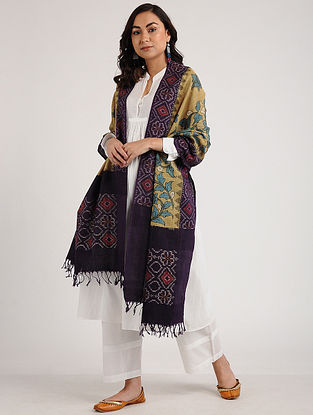 Beige-Purple Kalamkari Hand-painted Ikat Cotton Dupatta