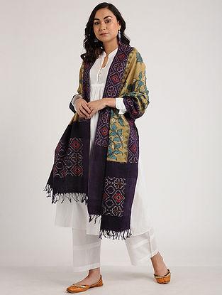 Beige-Purple Kalamkari Hand-painted Ikat Cotton Dupatta