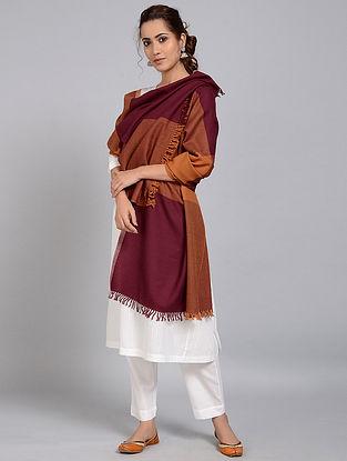 Brown-Maroon Merino Wool Shawl