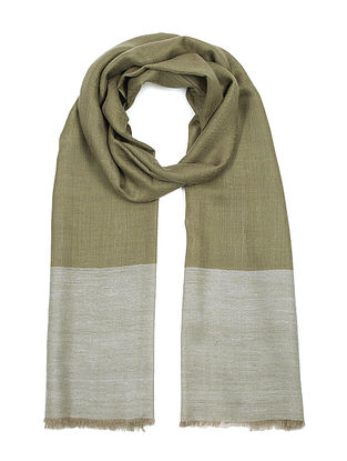 Olive-Ecru Pashmina/Cashmere Handwoven Stole