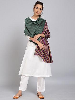 Green-Purple Merino Wool Shawl