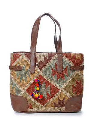 Multicolored Wool Jute Kilim Tote Bag