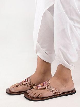 Brown-Multicolored Kolhapuri Slip Ons
