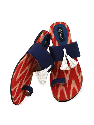 Red-Navy Blue Ikat Cotton and Leather Flats for Women