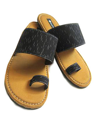 Mustard-Black Ikat Canvas and Leather Flats for Men