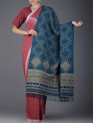 Blue-Mustard Natural-dyed Handwoven Wool Shawl