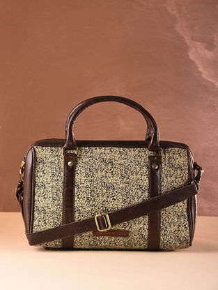 Beige Brown Cotton and Leather Handbag