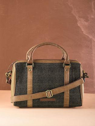 Black Tan Checkered Cotton and Leather Handbag