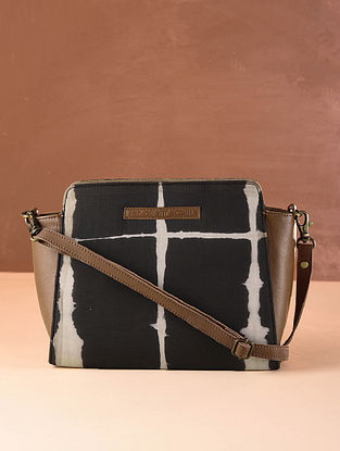 Black Brown Cotton and Leather Sling Bag