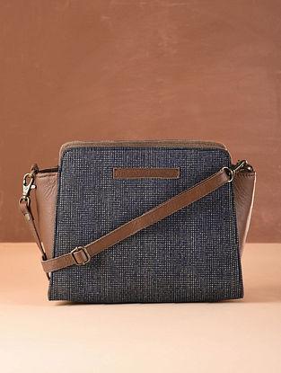 Indigo Tan Checkered Cotton and Leather Sling Bag