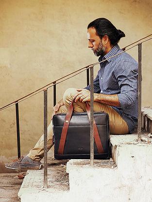 Blue-Brown Leather Laptop Bag