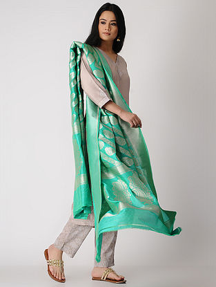 Sea-Green Benarasi Silk Dupatta