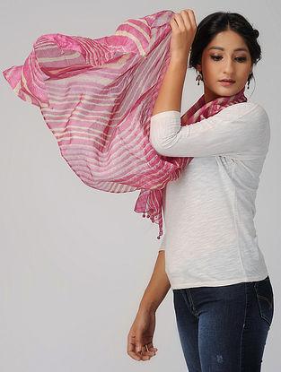 Pink-Beige Leheriya Silk Stoles with Tassels