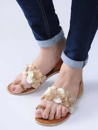 Tan-Beige Handcrafted Flats with Strands of Colorful Thread Embroidery and Beads